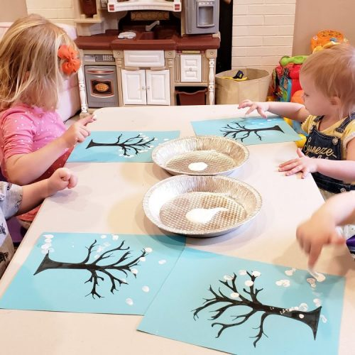 Winter tree fingerprint painting
